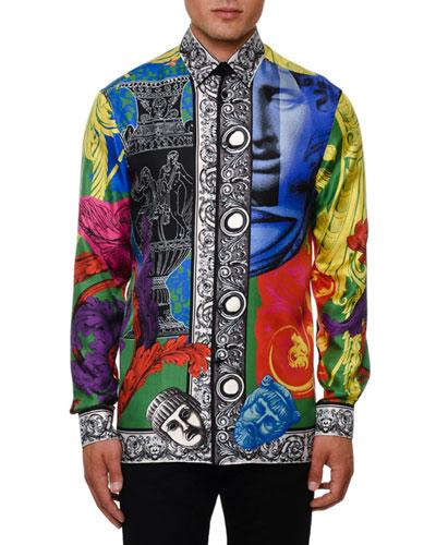 a7b4649bf Quick Look. Versace · Men's Multi Baroque Silk Shirt