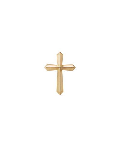 Men's 18k Gold Roman Cross Stud Earring, Single