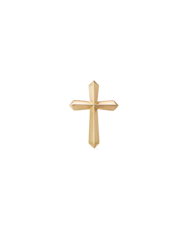 Men's 18k Gold Roman Cross Stud Earring