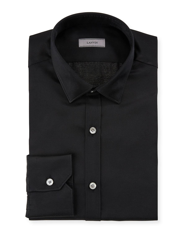 Lanvin Mens Slim Fit Serge Metallic Dress Shirt In Black Modesens
