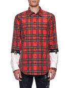Dsquared2 Men's Tartan Zip-Cuff Sport Shirt