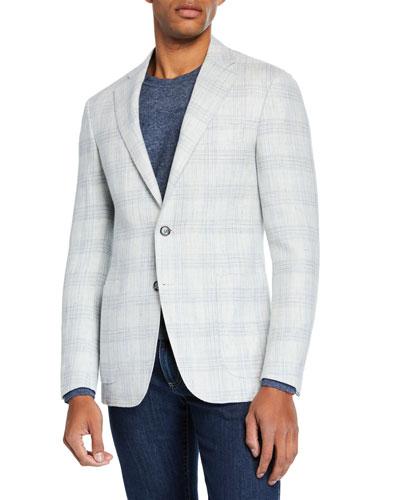 Men's Plaid Linen/Wool Sport Coat