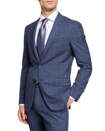 Men's Impeccabile 130s Wool Plaid Two-Piece Suit