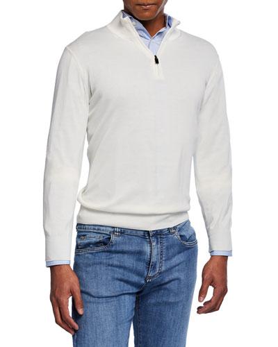 Men's Mock-Neck Jersey Sweater