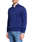 Canali Men's Mock-Neck Jersey Sweater, Blue