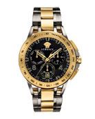 Versace Men's 45mm Sport Tech Chronograph Watch, Gold/Gray
