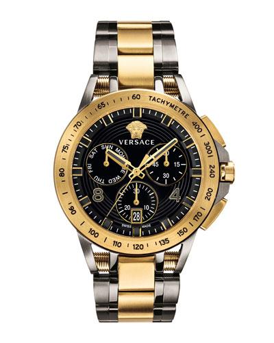 Men's 45mm Sport Tech Chronograph Watch, Gold/Gray