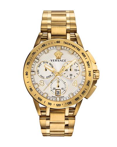 Men's 45mm Sport Tech Chronograph Watch, Gold