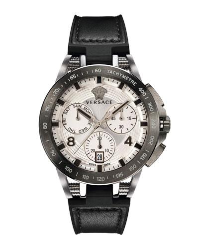 Men's 45mm Sport Tech Chronograph Watch, Black