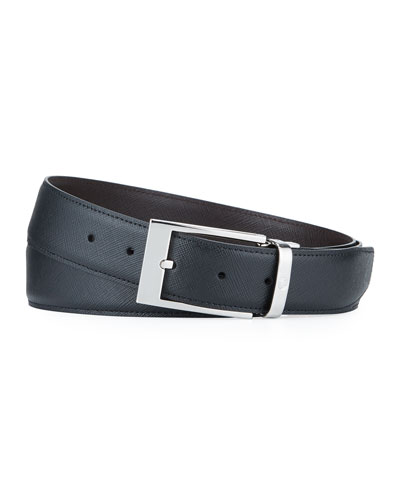 Men's Rectangle-Buckle Reversible Saffiano Belt