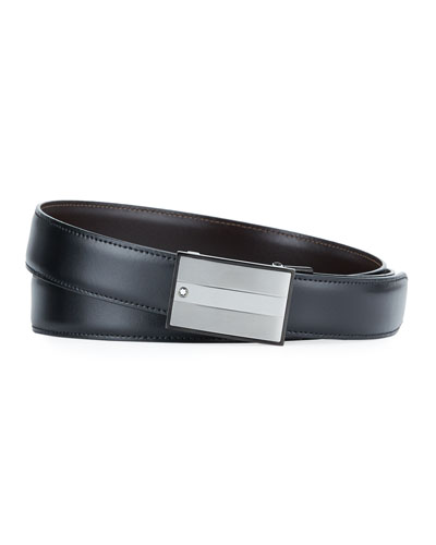 Men's Reversible Rectangle-Buckle Leather Belt