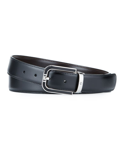 Men's Silvertone-Buckle Reversible Leather Belt