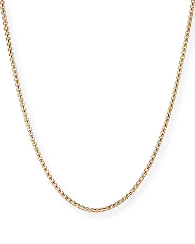 Men's 18k Gold Box Chain Necklace, 24