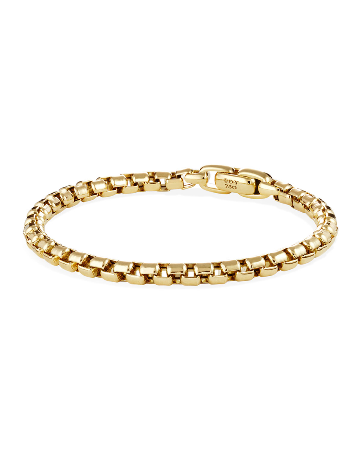 David Yurman  MEN'S 18K GOLD BOX CHAIN BRACELET, 5MM
