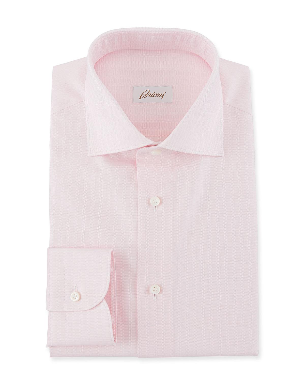 BRIONI Men'S Textured Stripe Dress Shirt in White