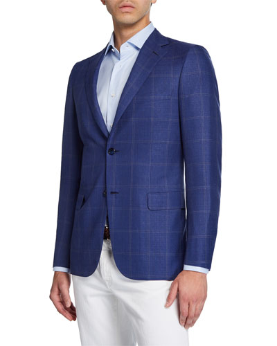 Men's Double Windowpane Two-Button Jacket