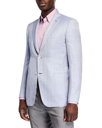 Men's Herringbone Wool-Silk Two-Button Jacket