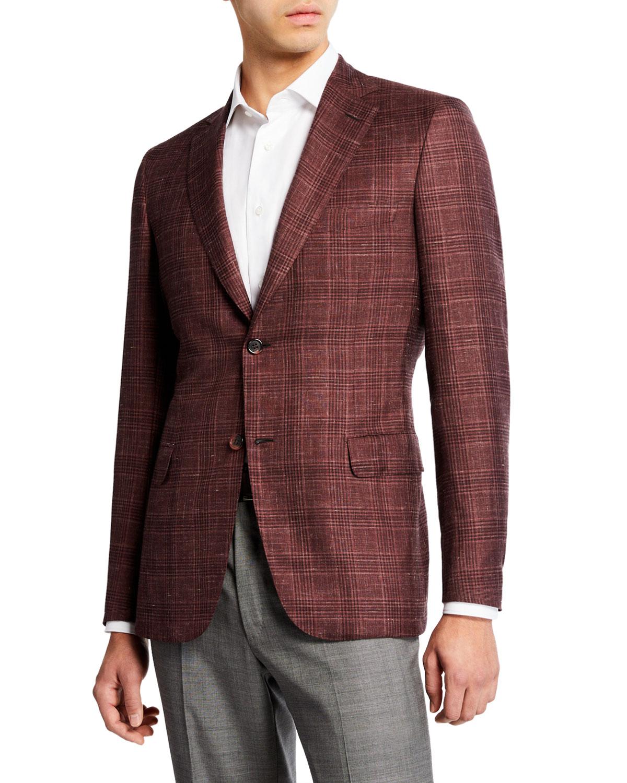 BRIONI Men'S Cashmere/Silk Plaid Sport Coat in Red
