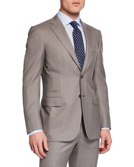 Brioni Men's Taupe Windowpane Two-Piece Suit
