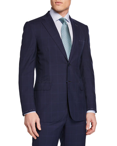 Men's Tonal Windowpane Two-Piece Suit