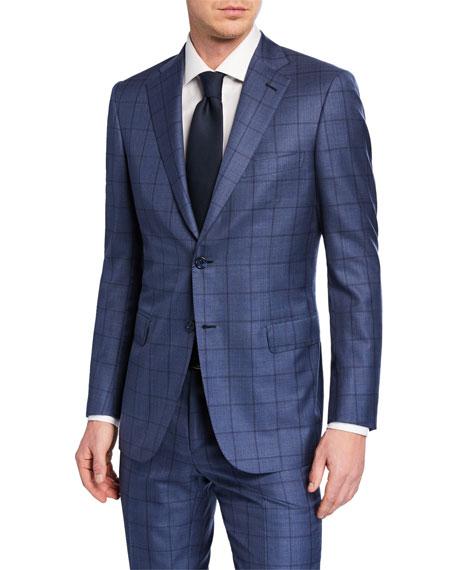 Brioni Men's Windowpane Wool-Silk Two-Piece Suit