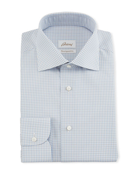 Brioni Men's Ventiquattro Gingham Dress Shirt