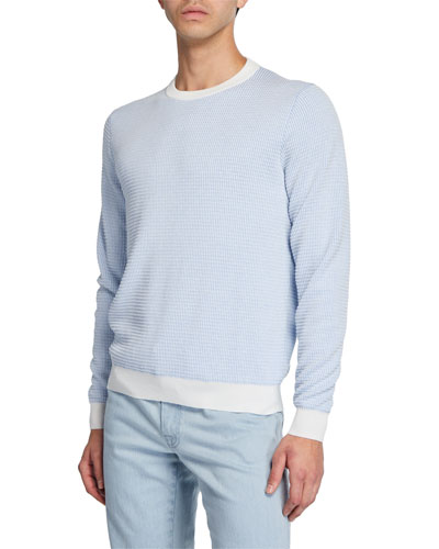 Men's Waffle-Knit Cotton Sweater