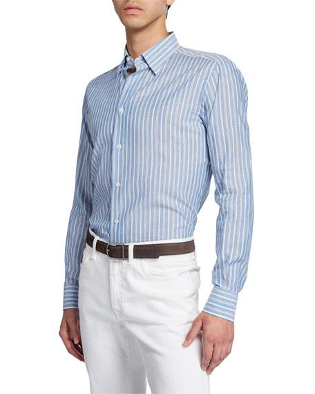 Brioni Men's Multi-Stripe Cotton/Linen Dress Shirt
