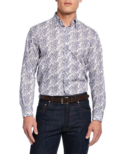 Men's Paisley-Print Cotton Sport Shirt