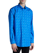Balenciaga Men's Allover Contrast-Logo Sport Shirt