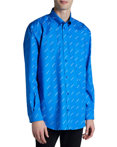 Men's Allover Contrast-Logo Sport Shirt