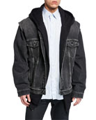 Balenciaga Men's Twinset Denim Jacket/Vest w/ Hoodie Lining