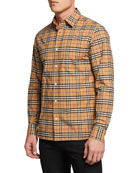 Burberry Men's George Check Sport Shirt, Beige