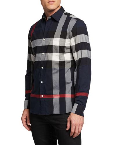 0d35c94e2 Burberry Blue Check Shirt | Neiman Marcus