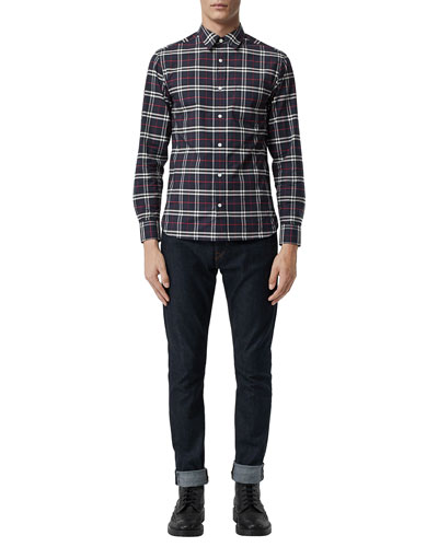 0010cb827 Quick Look. Burberry · Men's George Check Button-Down Shirt