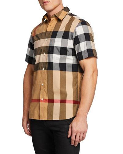 Men's Windsor Check Sport Shirt, Beige