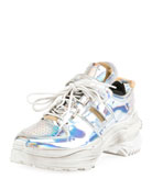 Maison Margiela Men's Retrofit Metallic Trainer Sneakers