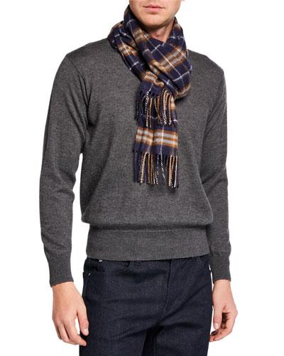Men's Vintage Check Cashmere Scarf