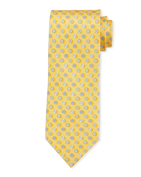 Salvatore Ferragamo Circular Silk Tie, Yellow
