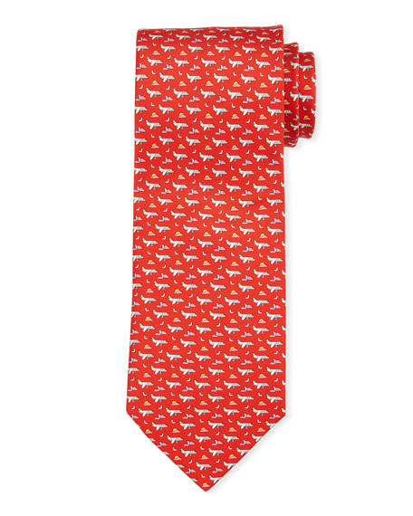 Salvatore Ferragamo Get Airplanes Silk Tie
