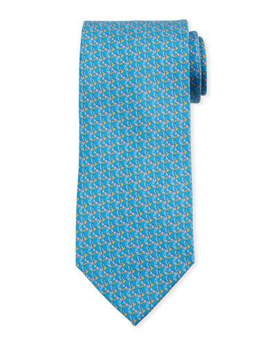 Bird-Print Silk Tie, Blue