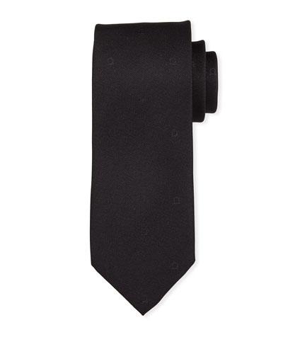 Eston Solid Silk Tie, Black