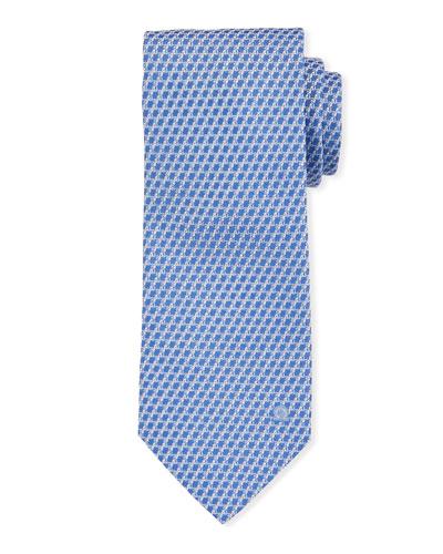 Swirl Texture Silk Tie, Blue