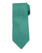 Salvatore Ferragamo Fish-Print Silk Tie, Green