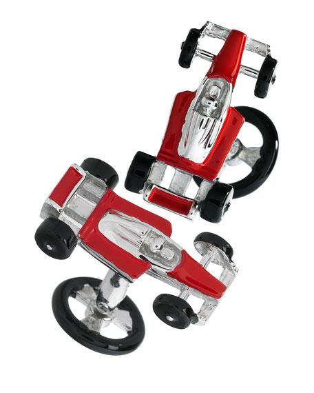 Jan Leslie Red Racecar Cuff Links