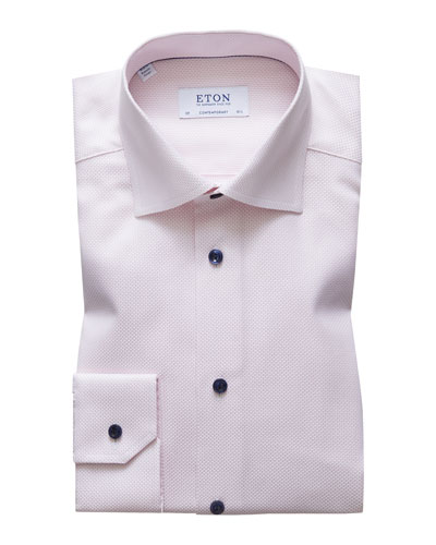 Men's Contemporary Fit Textured Solid Dress Shirt