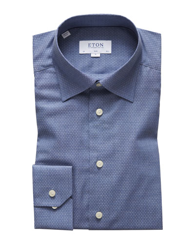 Men's Slim Fit Textured Solid Flanella Dress Shirt