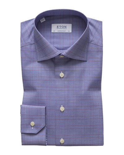 Men's Windowpane Contemporary Fit Dress Shirt