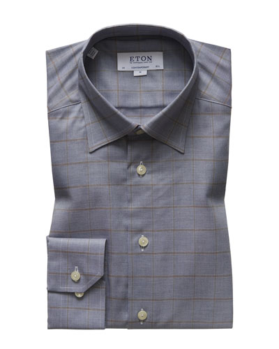 Men's Contemporary Fit Flanella Windowpane Dress Shirt
