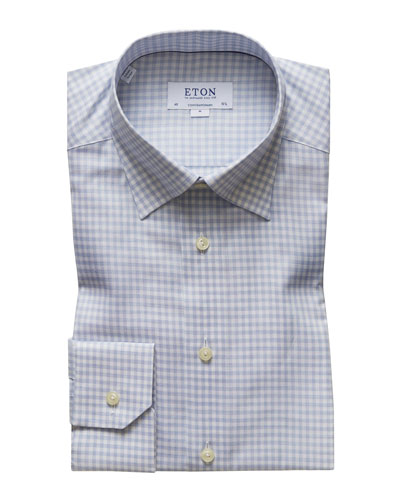 Men's Contemporary Fit Flanella Check Dress Shirt